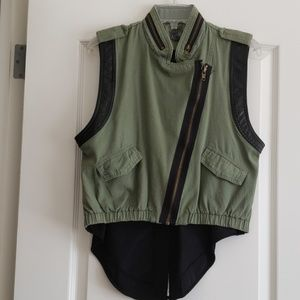 Leather and olive green denim vest